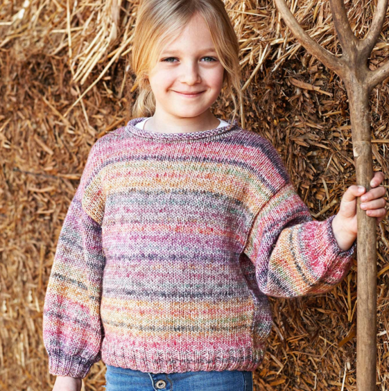Pull fille multicolore Cotton Merino Craft (28) Catalogue Enfant n°91 Katia