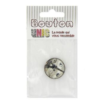 Bouton  coco 2 trous motif Tour-Eiffel 25 mm