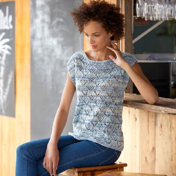 Pull manches courtes Cotton Jeans (23) Catalogue Katia n°77 Casual