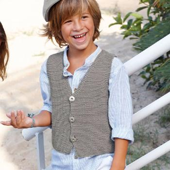Gilet boutonné Cotton 100% (15) Catalogue Katia Enfant n° 73 Eté 2015