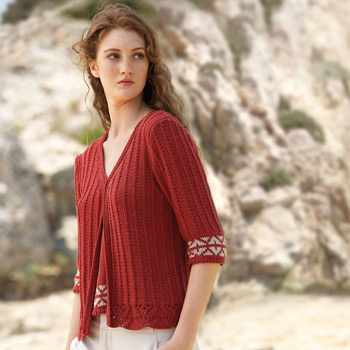Gilet manches 3/4 Cotton Yak (30A) Catalogue n°3 Concept (Katia)
