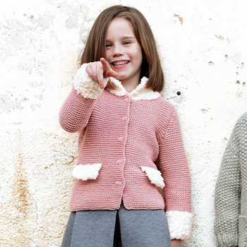 Manteau court Bombon/Merino 100%(5) Catalogue n°75 Enfant (Katia)
