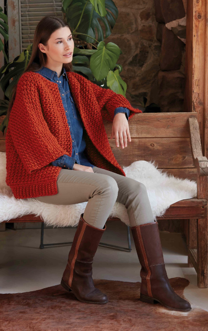 Gilet au crochet manches larges Peru (18) Catalogue Sport n°101 Katia