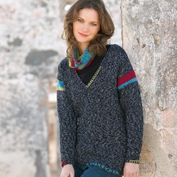 Pull V Merino 100% Effect (42) Catalogue n° 79 Adulte (Katia)