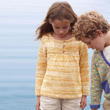 Pull Cotton Jeans (38) Catalogue Katia Enfant n° 73 Eté 2015